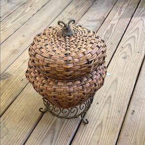 "EUC Wicker & metal snake charmer basket  17"" tall"
